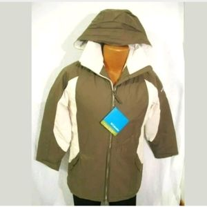 Columbia Brown Cream Waterproof Hooded Coat S M